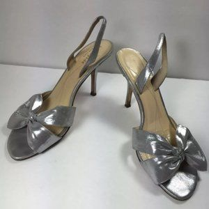 Kate spade heel sandals metallic bow made in Italy
